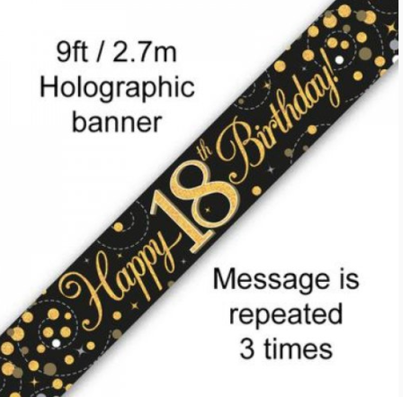 Banner Sparkling Fizz Black/Gold 18th