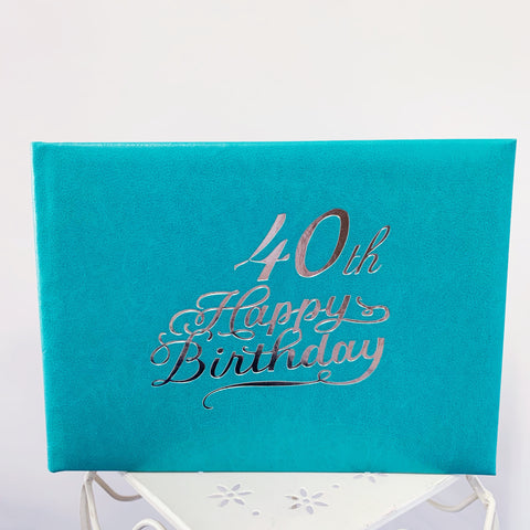 Guest Book 40th Teal/Silver in Box