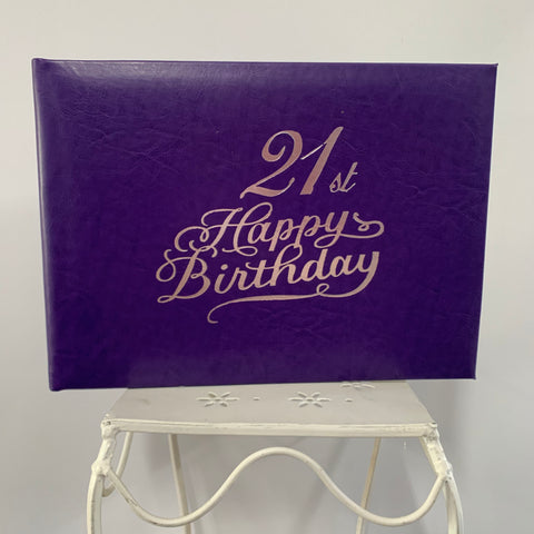 Guest Book 21st Purple/Silver in Box