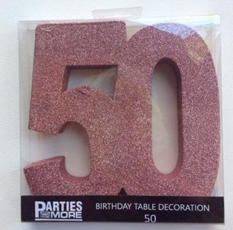 Centrepiece Foam Glitter Number 50 Rose Gold.