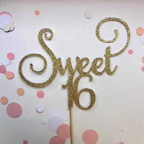 Glitter Cake Topper Sweet 16 Gold