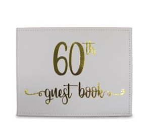 Guest Book 60th White/Gold Leather- Look