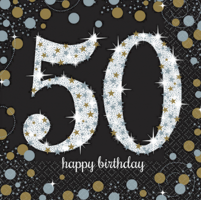 Napkins 50th Black/Gold Sparkling Celebration