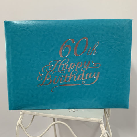 Guest Book 60th Teal/Silver in Box
