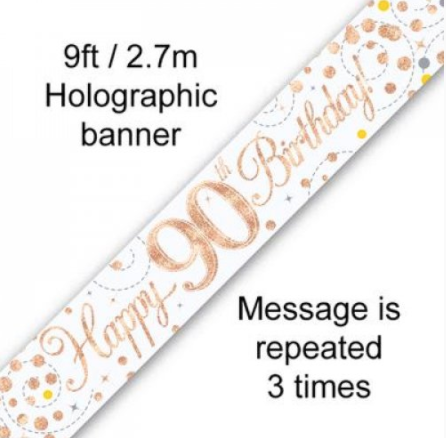 Banner Sparkling Fizz Rose Gold 90th