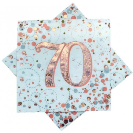 Napkins 70th Rose Gold Sparkling Fizz