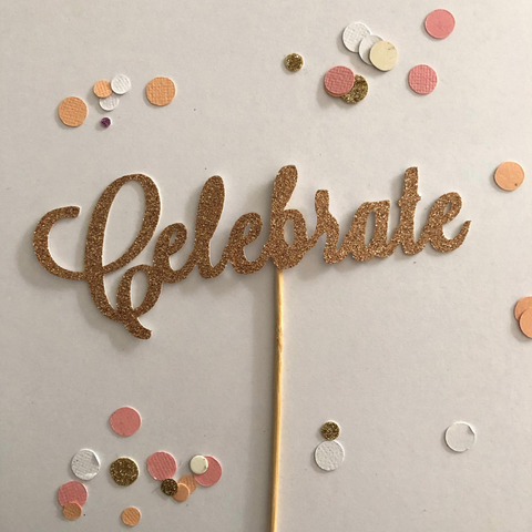 Glitter Cake Topper Celebrate Rose Gold