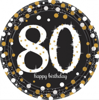Plates 80th Black/Gold Sparkling Celebration