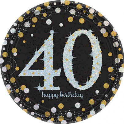 Plates 40th Black/Gold Sparkling Celebration