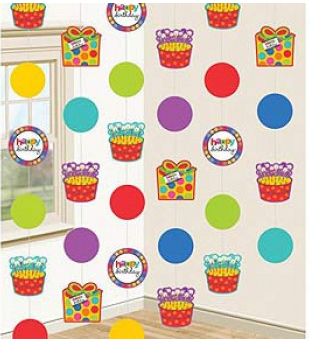 Hanging String Decorations Birthday Dots