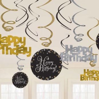 Birthday Swirl Decorations Happy Birthday Black/Gold/Silver