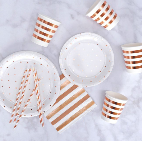 Rose Gold Dots Dessert Plate -Pack of 10