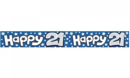 Foil Banner Happy 21st Blue
