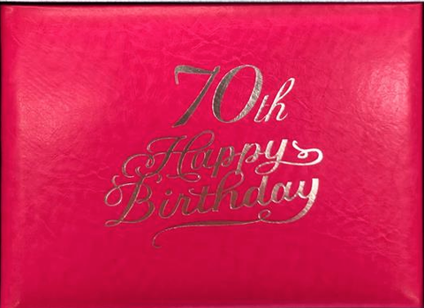 Guest Book 70th Hot Pink/Silver in Box