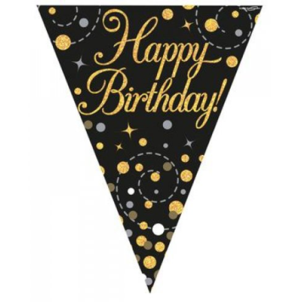 Flag Bunting Sparkling Fizz Black/Gold Happy Birthday