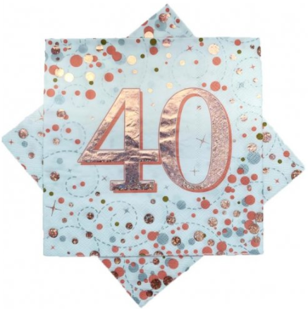 Napkins 40th Rose Gold Sparkling Fizz