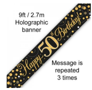 Banner Sparkling Fizz Black/Gold 50th