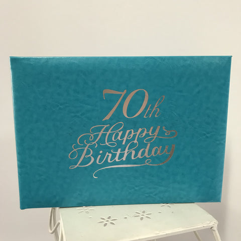Guest Book 70th Teal/Silver in Box