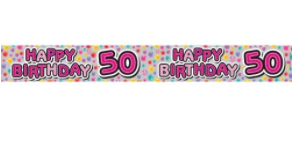 Foil Banner Happy 50th Pink