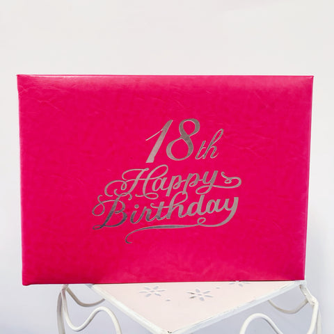 Guest Book 18th Hot Pink/Silver in Box