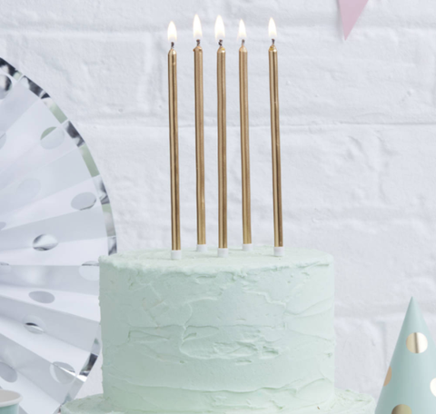 Tall Cake Candles Gold