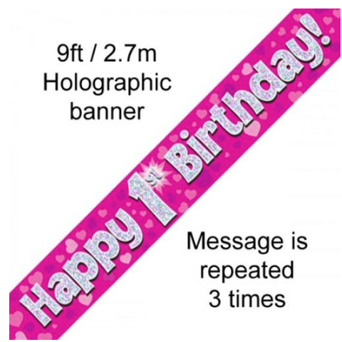 Foil Banner Happy 1st Birthday Pink