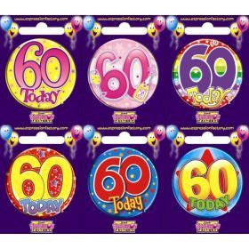 60th Birthday Badge Assorted Designs