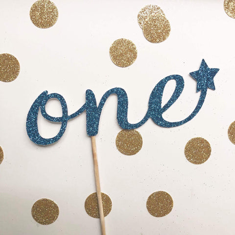 Glitter Cake Topper One Blue Star