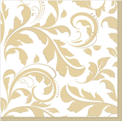 Napkins Elegant Scroll Metallic Gold