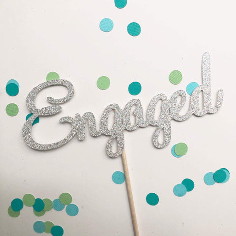 Glitter Cake Topper Engaged Silver