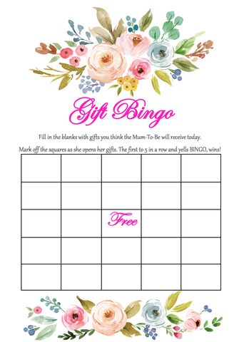 Game Baby Shower Gift Bingo