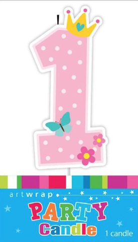 Single Digit Candle Pink 1st Birthday Crown