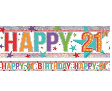 Banner Happy 21st Birthday Foil