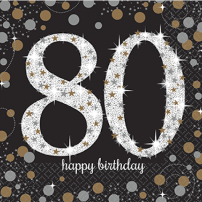 Napkins 80th Birthday Black/Gold Sparkling Celebration