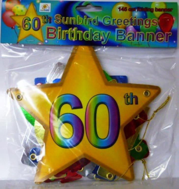 Folding Banner 60th Birthday Balloons Etc
