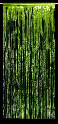 Metallic Door Curtain Lime