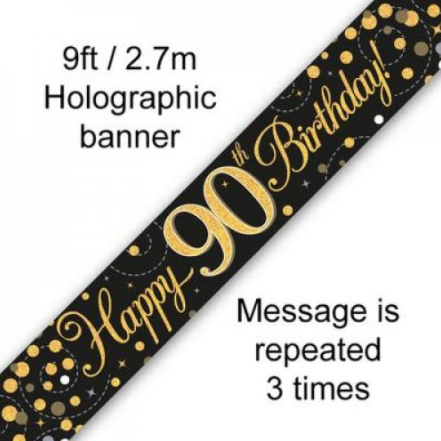 Banner Sparkling Fizz Black/Gold 90th