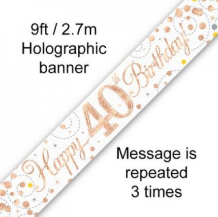 Banner Sparkling Fizz Rose Gold 40th