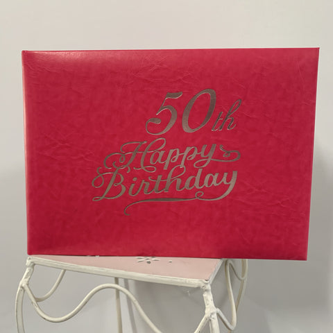Guest Book 50th Hot Pink/Silver in Box