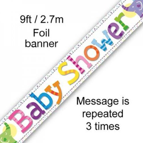 Foil Banner Baby Shower Colourful Elephants