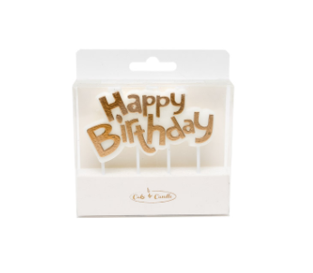 Gold Happy Birthday Plaque Candle