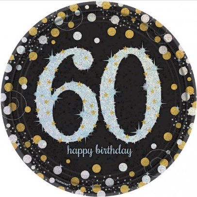 Plates 60th Black/Gold Sparkling Celebration