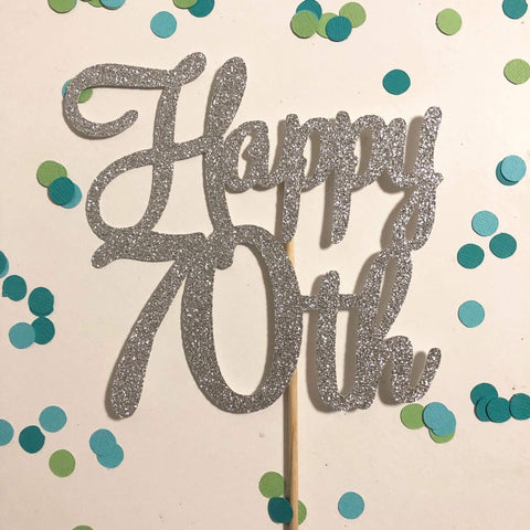 Glitter Cake Topper Happy 70th Silver