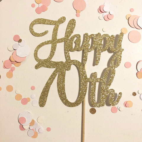 Glitter Cake Topper Happy 70th Gold