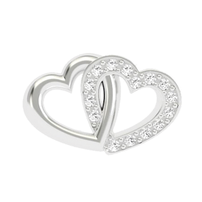 Interlocked Hearts Charm - Crystal & Plain