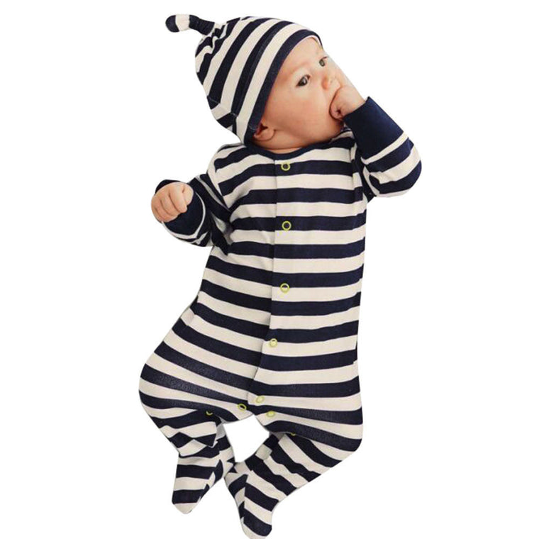 Striped Polo Jumpsuit With Hat
