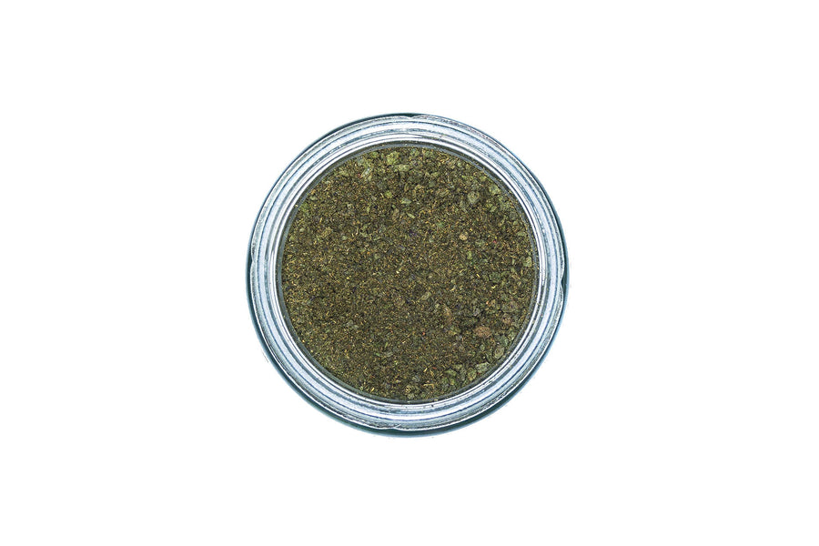 top view of JOOS brain power blend 90 gram glass jar.