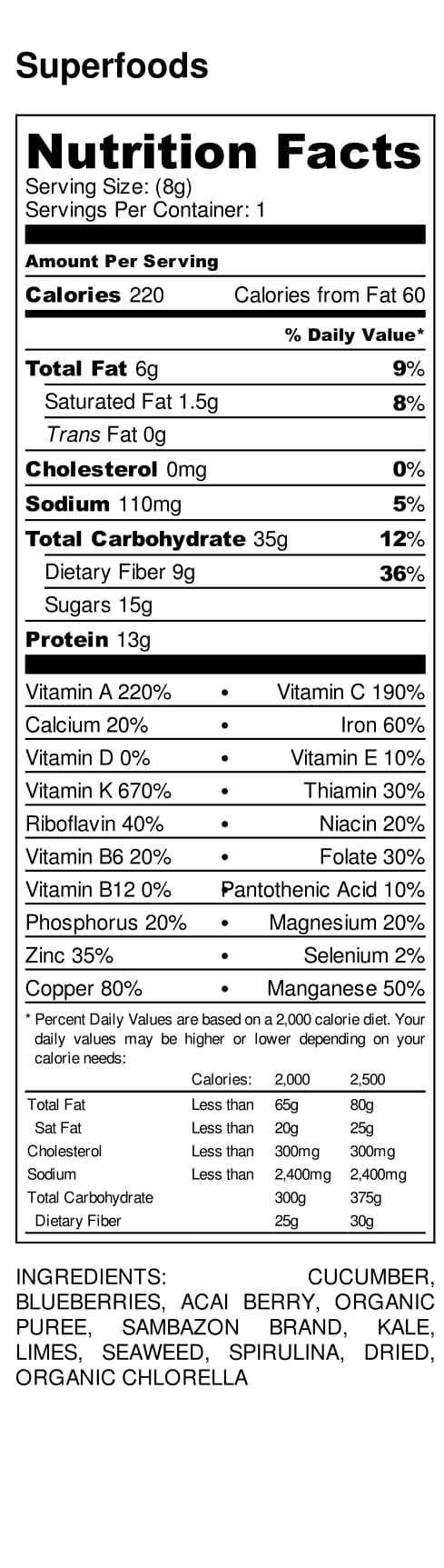 Ingredients and nutritional value of JOOS Recovery blend packet.