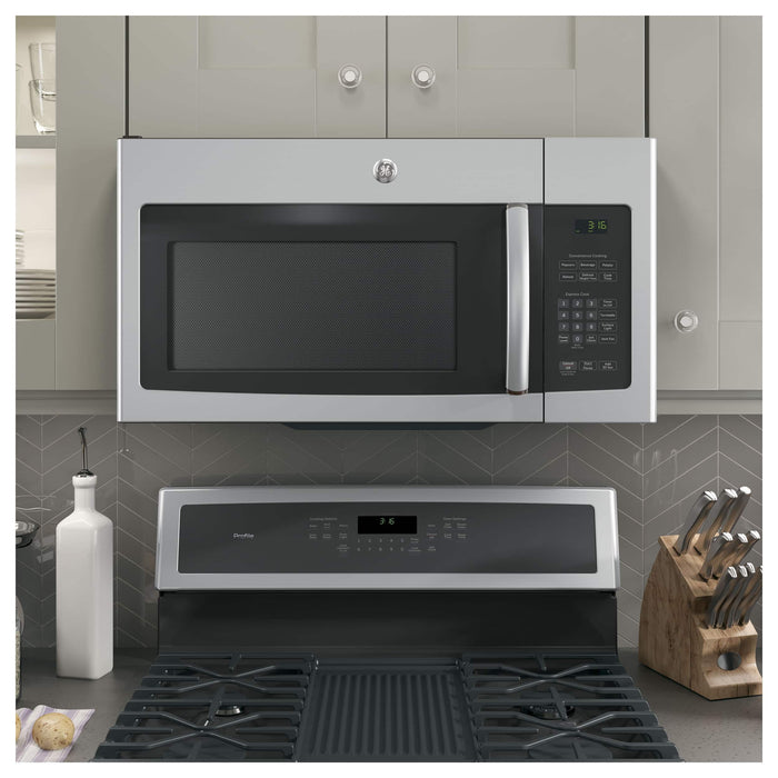 Over-the-Range Microwave with 1.6 cu. ft. Capacity  300 CFM with 2 Speeds  10 Power Levels  Auto and Time Defrost and Turntable On/Off: Stainless Steel