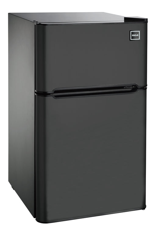 RCA 3.2 Cu Ft Two Door Mini Fridge with Freezer RFR832, Black